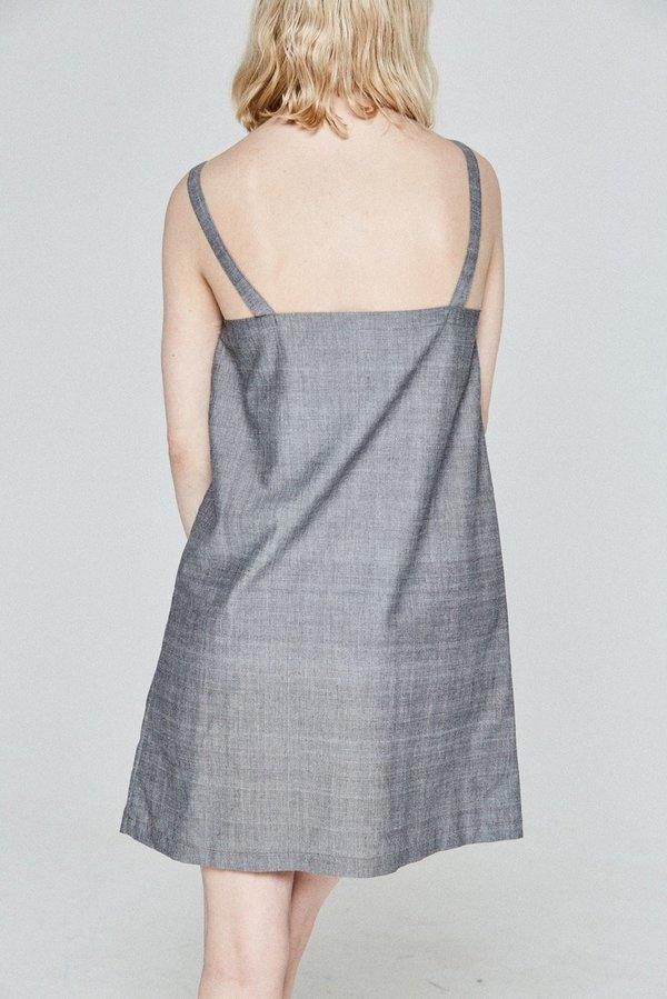 Bare Bones Eyelet Pinafore Dress - gray