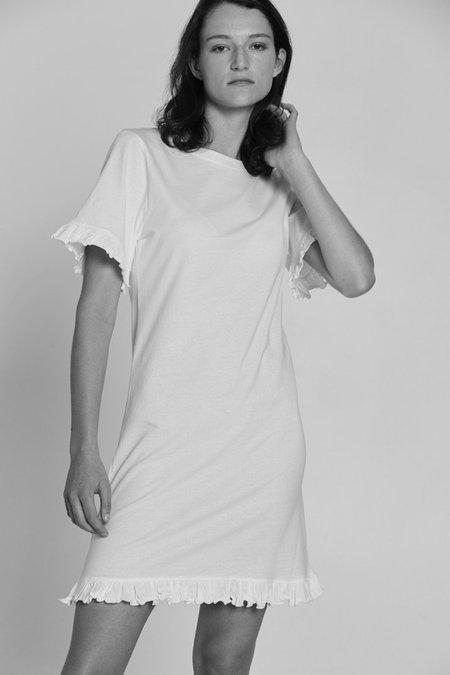 Bare Bones Frill Tee Dress - White