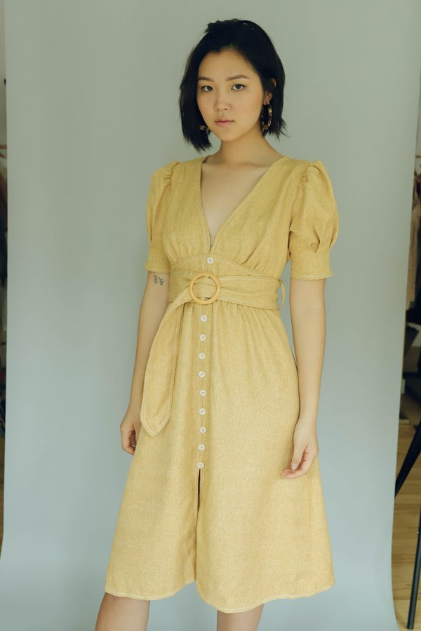 Moon River Button Front Belted Dress - Mustard