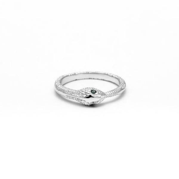 Angela Monaco Emerald Ouroboros Ring - Silver