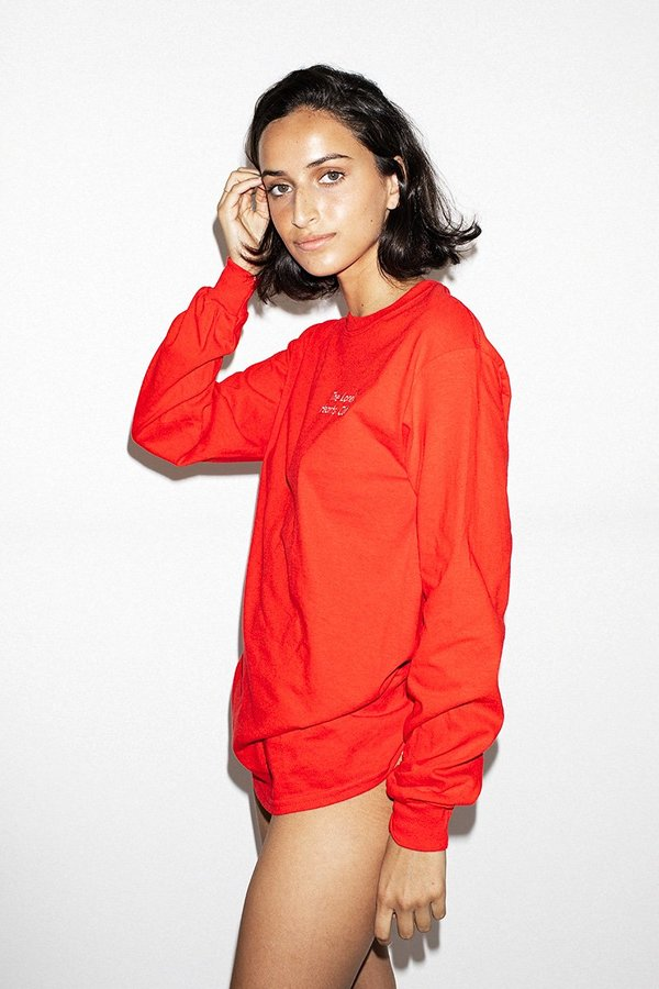 Double Trouble Gang Lonely Hearts Club Embroidered Long Sleeve Top - Red