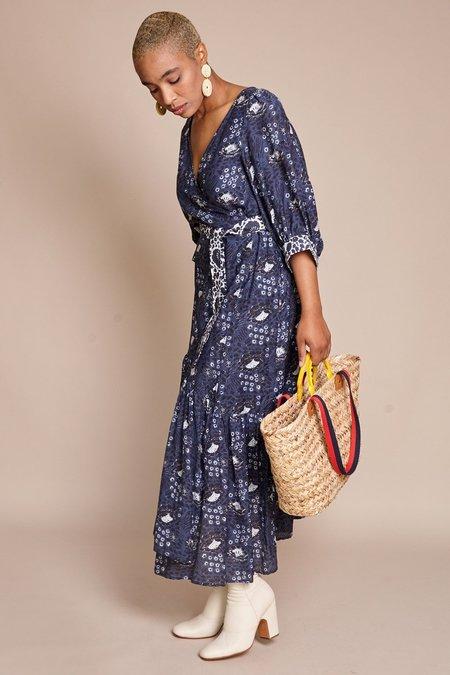 Apiece Apart Bougainvillea Wrap Dress - Navy Sombras Floral