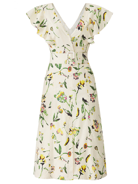 TANYA TAYLOR Inez Dress -Tie Dye Ivory Floral
