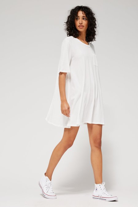 Lacausa Jersey Swing Mini Dress - Whitewash