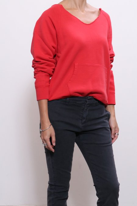 Nili Lotan Tiara V-Neck Sweatshirt - Red