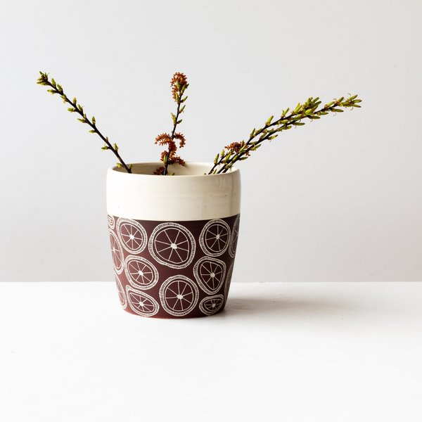 La Sauvage Engraved Vase/Utensil Crock