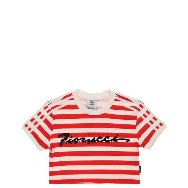 adidas Originals x Fiorucci Stripe Crop T- Shirt - Off White/Red