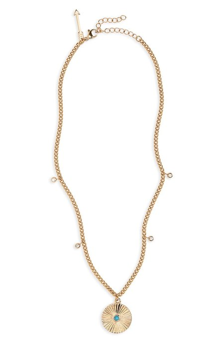 Ellie Vail Patricia Turquoise Disk Necklace - Gold