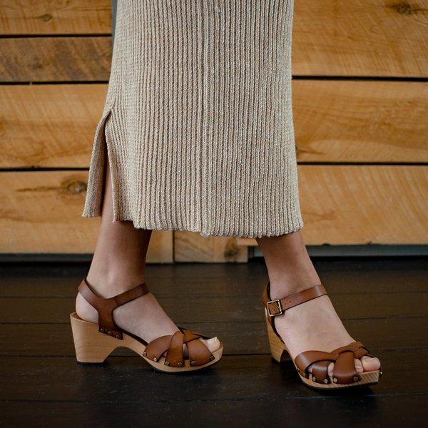 Lisa B. Leather Huarache Clogs