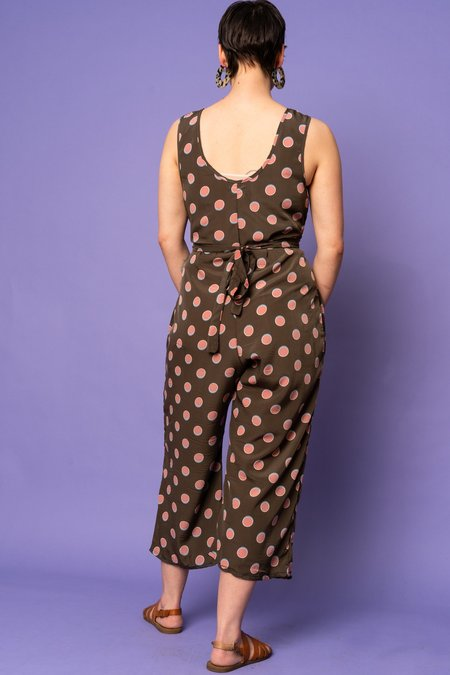 Altar Houseline Tie-Waist Jumpsuit - Watermelon Dotted