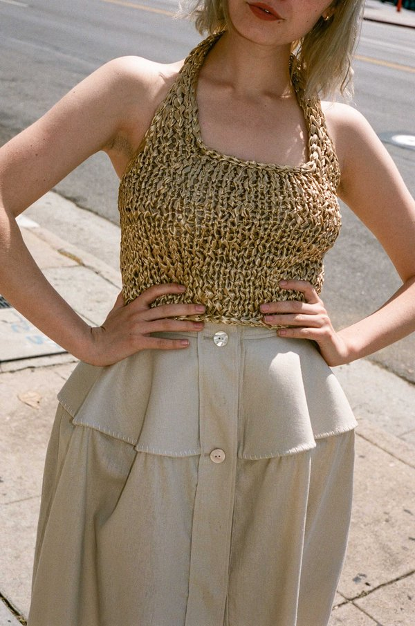 BEVZA Knitted Short Top - Beige