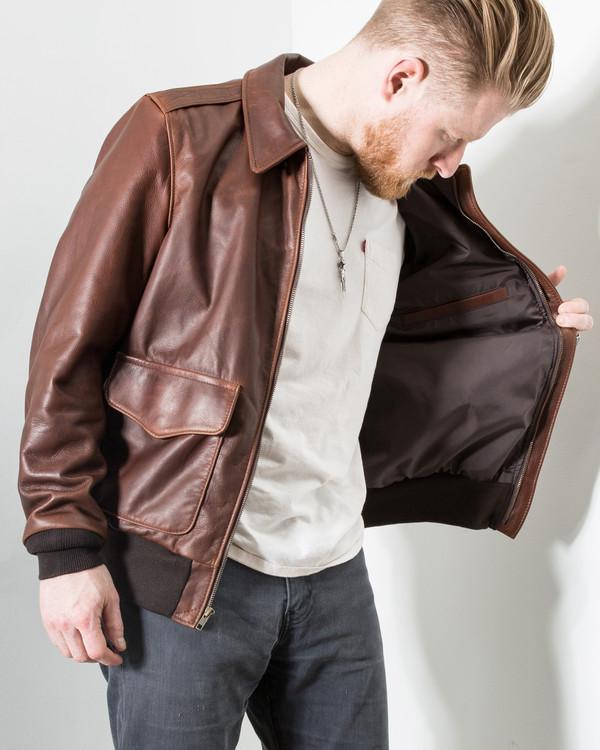 Schott Waxed Pebbled Cowhide A-2 Leather Flight Jacket | Garmentory