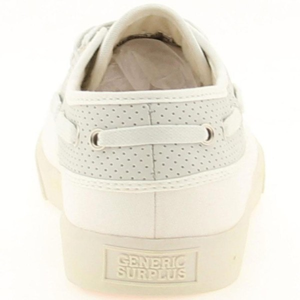 Generic Surplus Perforated Leather Boat Shoe - white/grey