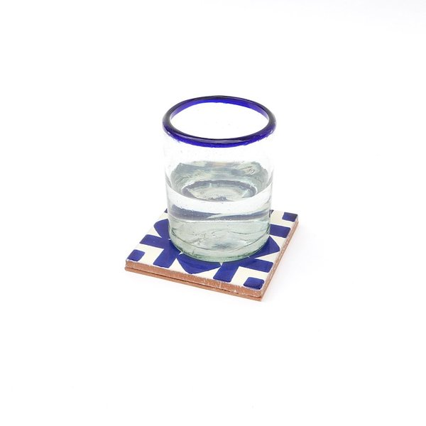 Made Solid Talavera Tile Coaster Set - Blue/White