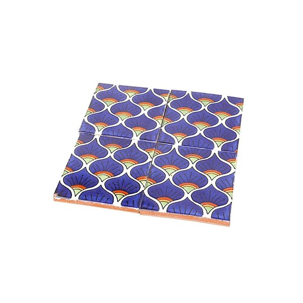 Made Solid Talavera Tile Coaster Set - Iris