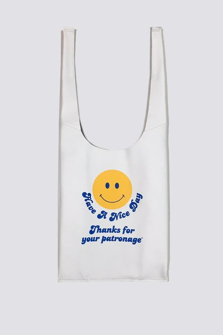 AW by Andrea Wong Smiley Face Gratitude Grocery Bag - white