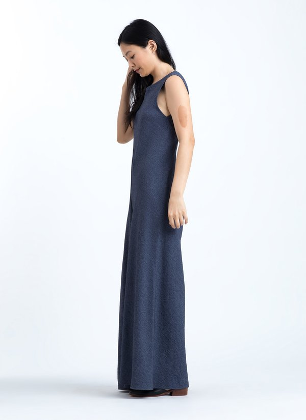 KAAREM Sabja Boatneck Low Back Onesie - Textured Dark Blue