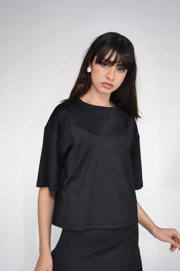 The Celect Nylon Cropped T-Shirt - Black