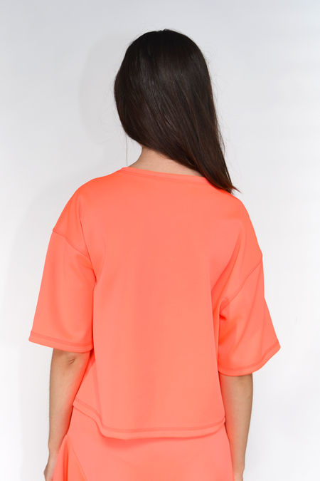 The Celect Poly Cropped T-Shirt - Neon Coral