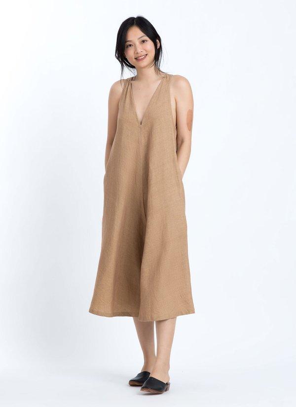 911b3508e KAAREM Ginger V-Neck Wide Leg Cropped Onesie - Brown Sand | Garmentory