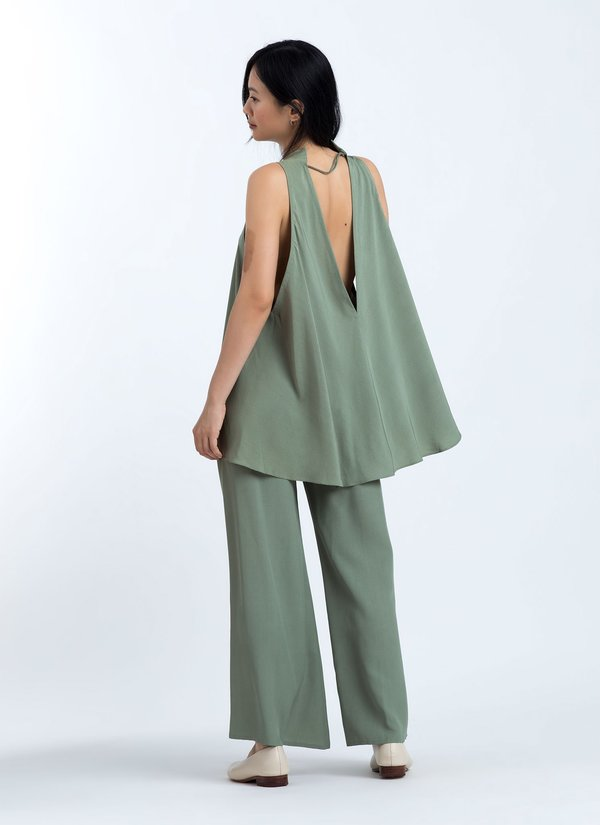 Kaarem Song Tu Wide Leg Silk Pants - Moss Green