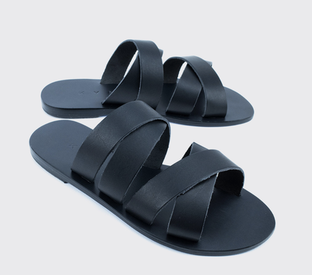 KYMA Kalamos Handmade Greek Sandals - Black