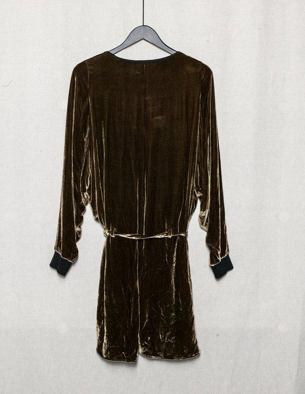 Berenik Short Silk Velvet Jumpsuit  With Belt -  Gold