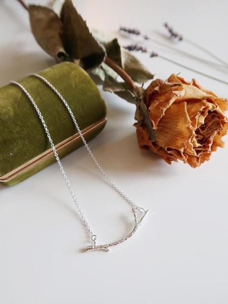 Invidiosa Jewelry Crescent Branch Necklace - Silver