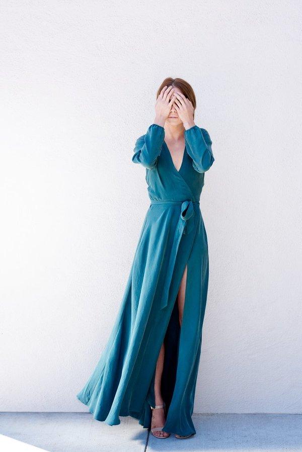 Kamperett LINDEN SILK MAXI WRAP DRESS - JUNIPER