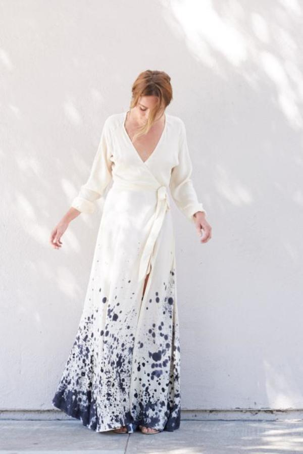 Kamperett LINDEN SILK WRAP DRESS - TIDAL HAND PAINTED