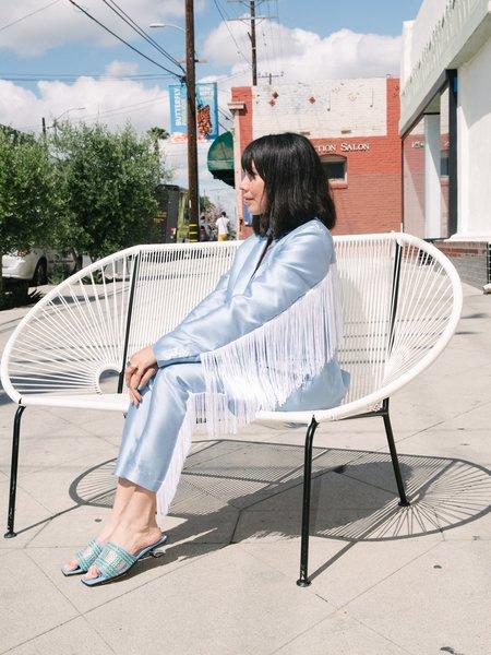 Suzanne Rae Oversized Blazer With Fringe - blue