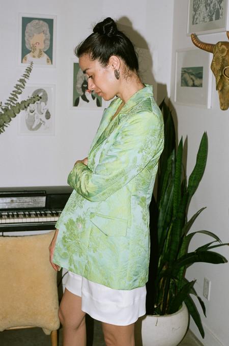 Suzanne Rae Floral Jacquard Blazer - Mint Green