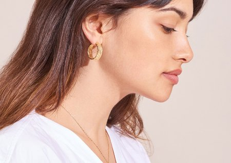 Lucy Folk anchovy hoops - yellow gold plate