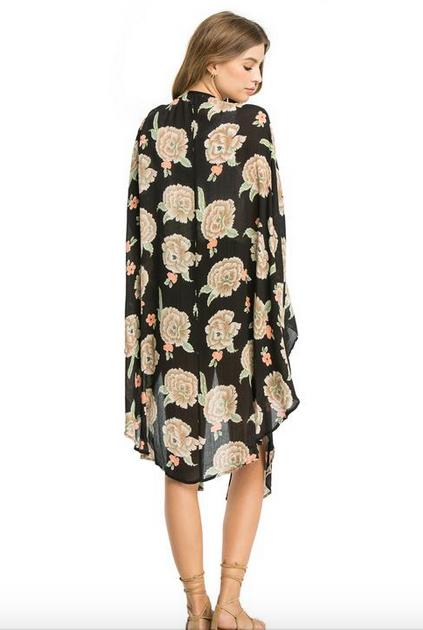 AMUSE SOCIETY Katrina Woven Kimono - Black Sands