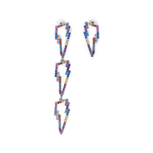 Joomi Lim Asymmetrical Earrings W/ Crystal Lightning Bolts - Rhodium/Rainbow
