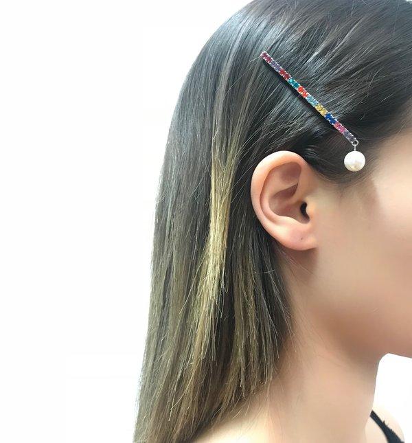 Joomi Lim Crystal Bar Bobbi Pin - Rhodium/Rainbow