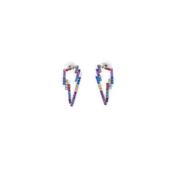 Joomi Lim Crystal Lightning Bolt Earrings - Rhodium/Rainbow