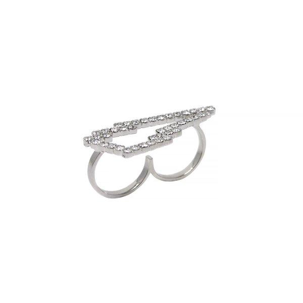 Joomi Lim Crystal Lightning Bolt Ring - Rhodium/Crystal