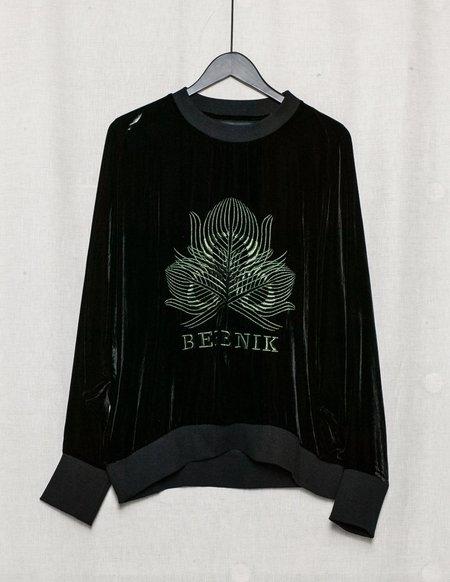 Berenik SILK VELVET SWEATER WITH EMBROIDERY - black