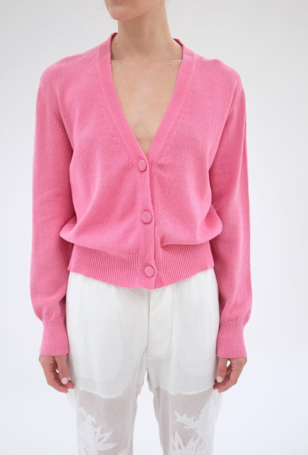 Beklina Cotton Knit Cardigan - Piñata Pink