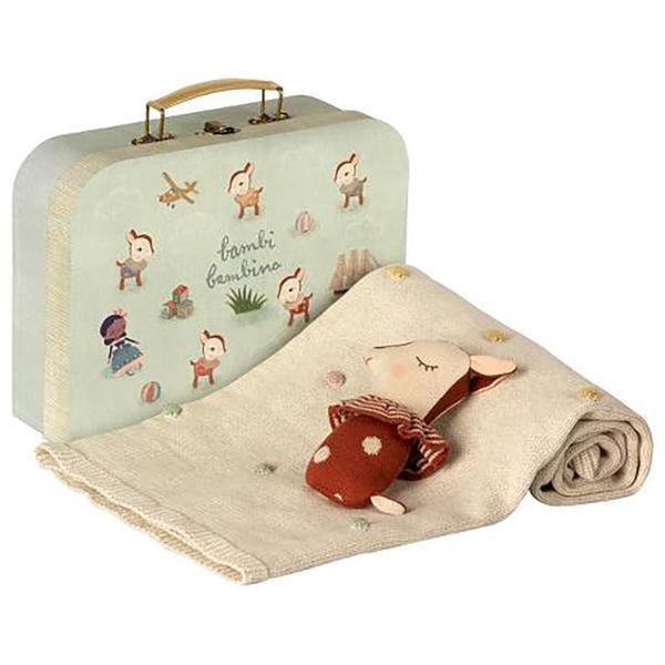KIDS Maileg Bambi Deer Rattle and Blanket Suitcase Gift Set