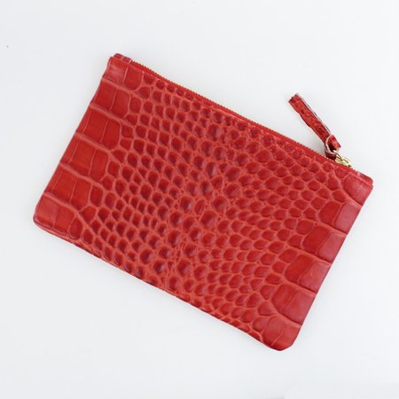 Clare V. Wallet Clutch - Red Croc