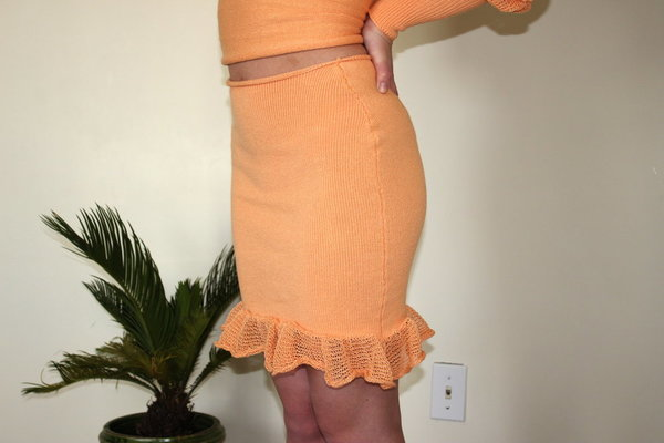 Pearle Knits Come Hither Skirt - Cantaloupe