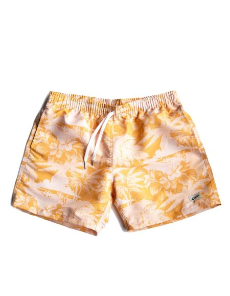 Bather Trunk - Yellow Aloha Printed
