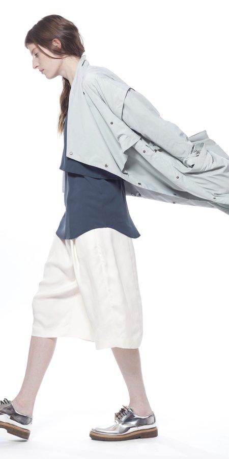 SCHAI Geode Leather Long Shorts - Sake