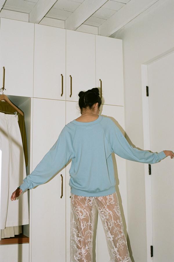 Suzanne Rae Raglan Sweatshirt with Crest - Light Blue