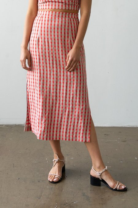 Waltz Long Skirt - Poppy Check