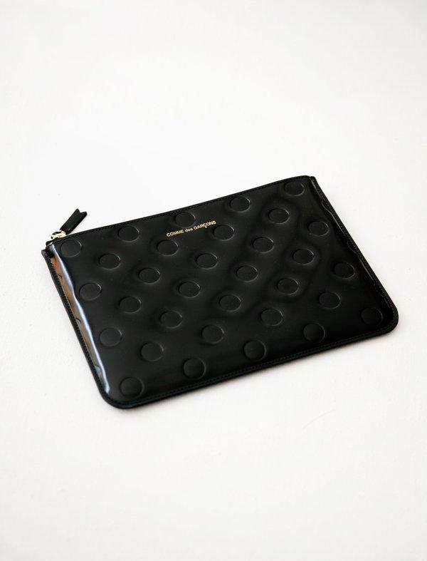 Comme des Garçons Polka Dots Embossed Classic Zip Large Wallet - Black