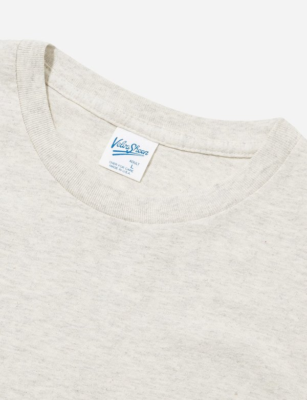 Velva Sheen College Arm Stripe USA Made T-shirt - Oatmeal/Burgundy