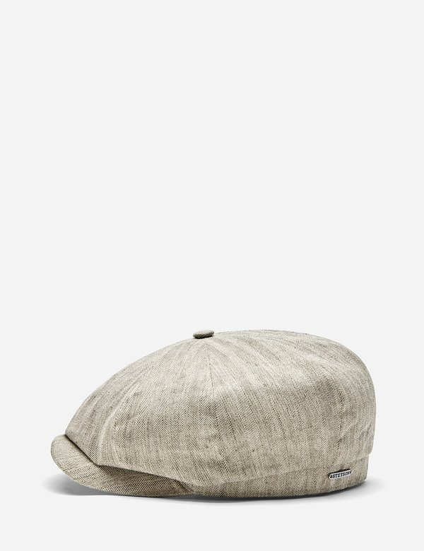 Stetson Hatteras Fine Herringbone Flat Cap - Dark Beige